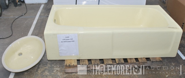 Eljer Cast Iron Tub with Matching Sink | McLemore Auction Company, LLC