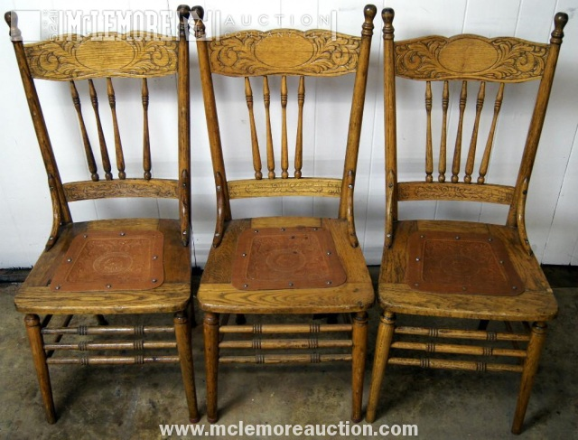 3 chairs w leather insert seats mclemore auction company llc - Leather Chair Seats. Amazing Leather Dining Room Chairs Interior And